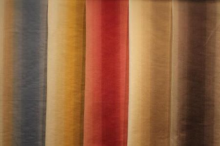 Jim Dickens -  Saragossa Fabric Collection - Five striped fabrics, all with cream, but with variations in the colour it is paired with: either blue, yellow, red, gold or brown