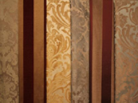 Jim Dickens -  Trafalgar Fabric Collection - Gold, silver, burgundy, brown and cream patterned and striped fabrics, with some matt and some shiny effects