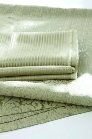 Jones Interiors -  Symphony Fabric Collection - Folds of fabric with three different but similar very subtle patterns in the same light green-cream colour