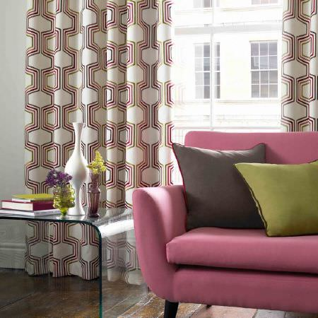 Kai -  Abira Fabric Collection - Curtains, cushions and an upholstered sofa of cotton fabrics in colours of green, brown and pink in plain and embroidered styles