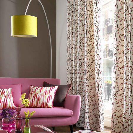 Kai -  Abira Fabric Collection - A modern setting with curtains, cushions and upholstery in colours of pink, white, brown and red in plain and embroidered styles