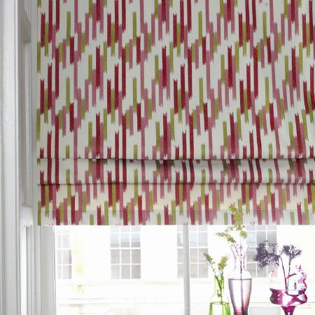 Kai -  Abira Fabric Collection - Cotton roman blinds in colours of white, red, pink and green pulled halfway up