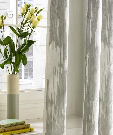 Kai -  Akina Fabric Collection - Modern and minimalist curtain decorated with a conventional pattern in light grey and white