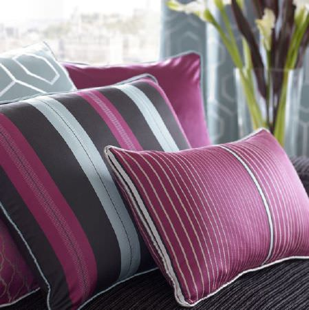 Kai -  Casson Fabric Collection - Cushions in colours of white, purple, grey and black, in plain, geometric and striped styles