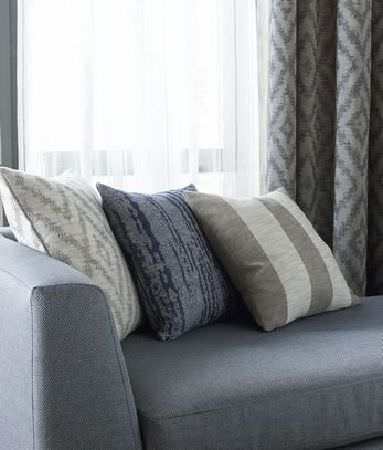 Kai -  Couture Fabric Collection - Plain grey chaise longue with three grey, beige and white-grey cushions, beside light and dark grey patterned curtains