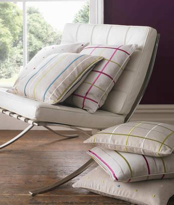 Kai -  Fabian Fabric Collection - Modern chair with fabric seating pads and natural white pillows with either stripes, spots or tartan design in pink, green, and blue