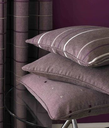 Kai -  Fabian Fabric Collection - Deep purple polyester and cotton pillows with striped, spots or plain design and deep purple curtain with horizontal stripes