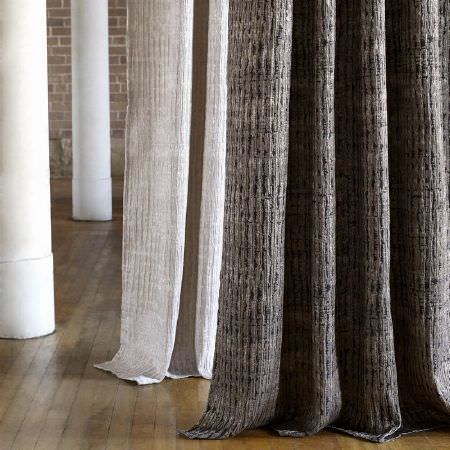 Kai -  Janco Fabric Collection - Light beige fabric with rows of slight ridges, with brown fabric, also with rows of slight ridges