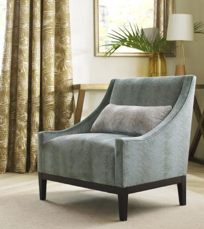 Kai -  Japura Fabric Collection - Light blue upholstered armchair, plain light grey cushion and elegant curtains featuring modern gold design