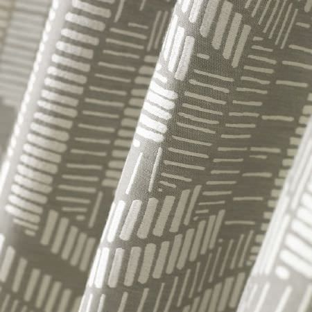 Kai -  Lamorna Fabric Collection - Grey fabric printed with a pattern of white dashed lines