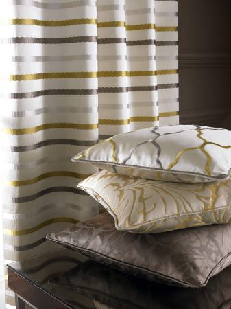 Kai -  Maurelle Fabric Collection - Satin, velvet and voile cusions and curtains with patterns in gold, silver, white and brown