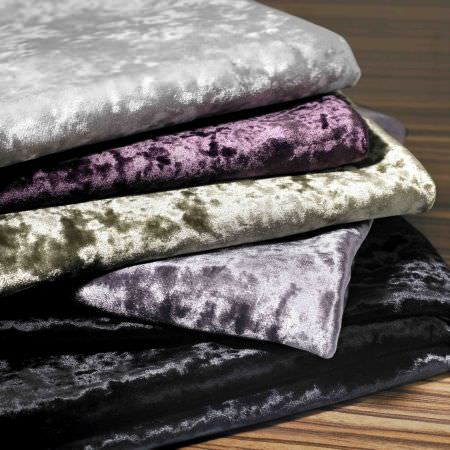Kai -  Scriva Fabric Collection - A collection of plush fabrics dyed in colours silver, white, purple, green, black and dark grey