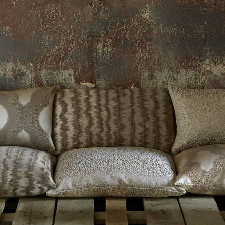 Kai -  Tsonga Fabric Collection - Stone effect cushions in grey and beige, grey and beige coloured cushions with rough stripes, and patterned cushions in grey and beige