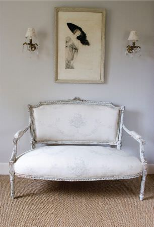 Kate Forman -  Kate Forman Fabric Collection - 18th century style couch with classic style white upholstery with a faint grey flower impressions