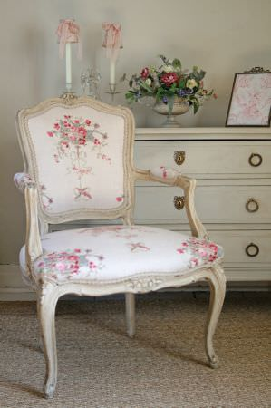 Kate Forman -  Kate Forman Fabric Collection - 19th century classic chair with white upholstery with a flower design imprint