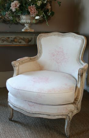 Kate Forman -  Kate Forman Fabric Collection - Classic19th century armchair upholstered using white fabric with faint pink classic flower design