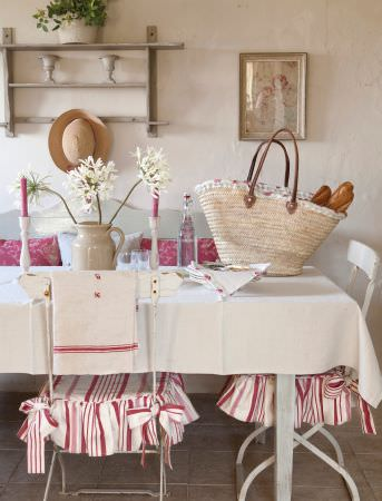 Kate Forman -  Kate Forman Fabric Collection - Classic country house dining room settiing with red striped seating pads, a plain white tableclothand red cushions with floral pattern