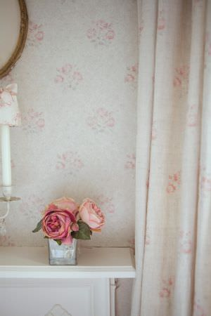 Kate Forman -  Kate Forman Fabric Collection - White curtains and fabric wall paper with small pink flower patterns