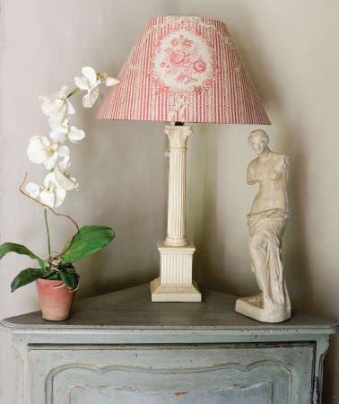Kate Forman -  Kate Forman Fabric Collection - A red and white striped lamp shade with red flower wreaths and roses in the middle
