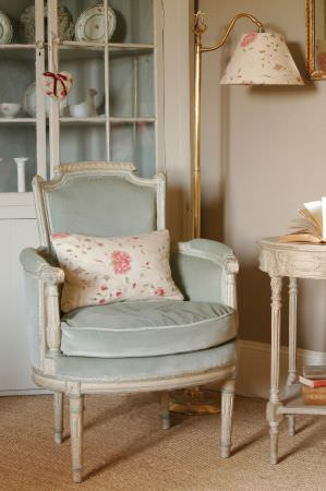 Kate Forman -  Kate Forman Fabric Collection - A mineral blue upholstered antique chair with a white and flowery cushion