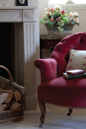Kate Forman -  Kate Forman Fabric Collection - Antique style red upholstered chair with  pillow decorated with flower chains