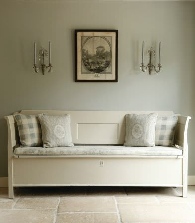 Kate Forman -  Kate Forman Fabric Collection - Classic parlour bench with a white sitting pad with blue flowers, and plaid and wreath decorated cushions