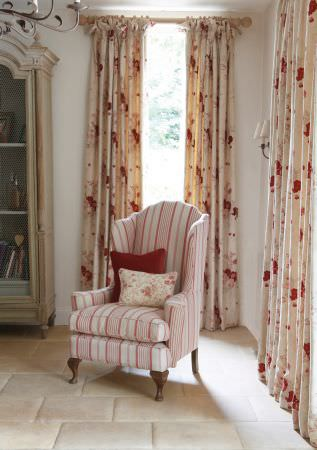 Kate Forman -  Kate Forman Fabric Collection - Red and white striped armchair upholstery and white curtains with red watercolour flowers imprinted