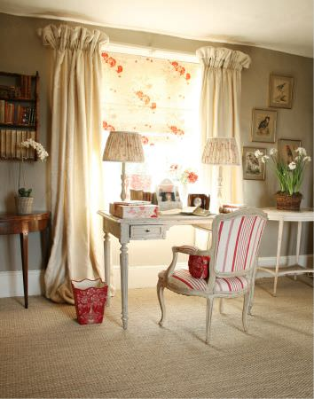 Kate Forman -  Kate Forman Fabric Collection - Antique style chair with red and white striped padding, pinched white curtains and a roman blind with flower images