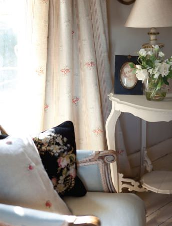 Kate Forman -  Kate Forman Fabric Collection - Classic red and duck egg blue striped curtain with small flowers and a light blue upholstered chair