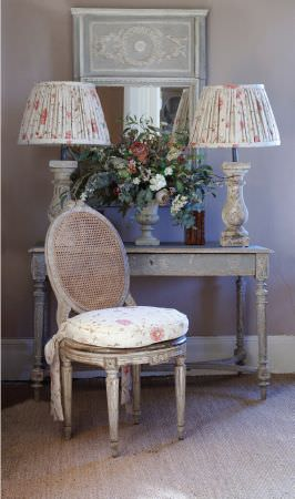 Kate Forman -  Kate Forman Fabric Collection - White flowery sitting pad and classic white lamp shades with flower decorations in a classic setting