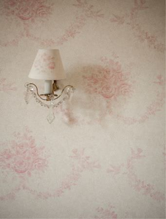 Kate Forman -  Kate Forman Fabric Collection - White fabric wall paper with faint pink classic floral pattern and a white lamp shade