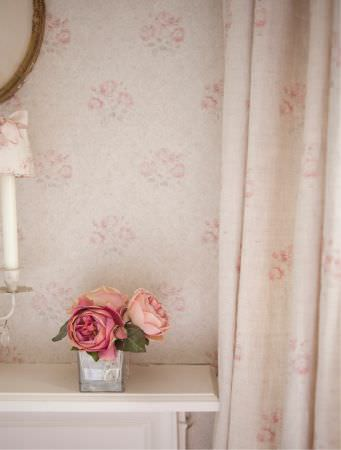 Kate Forman -  Kate Forman Fabric Collection - White curtain with light pink classic flower imagery and same type fabric wall paper