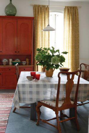 Kate Forman -  Kate Forman Fabric Collection - Blue and white tartan tablecloth and yellow curtains in a country house
