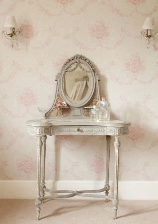 Kate Forman -  Kate Forman Fabric Collection - White fabric wall paper with classic pink faded flower impressions