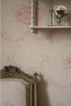Kate Forman -  Kate Forman Fabric Collection - Close-up shot of fabric wall paper with pink faded classic flower pattern