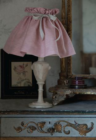 Kate Forman -  Kate Forman Fabric Collection - Plain pink classic lamp shade with a bow in an antique setting