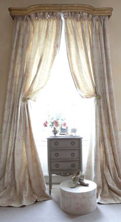 Kate Forman -  Kate Forman Fabric Collection - White curtain with faded floral impressions in a rustic setting