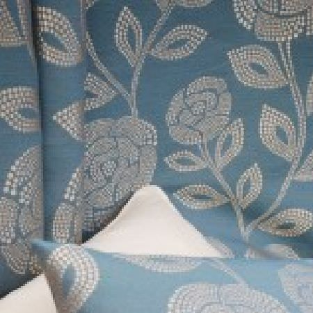 Kestrel Lister -  Florence Fabric Collection - One white cushion, with cobalt blue fabric embroidered with dotted white leaves, made into a second cushion and curtains