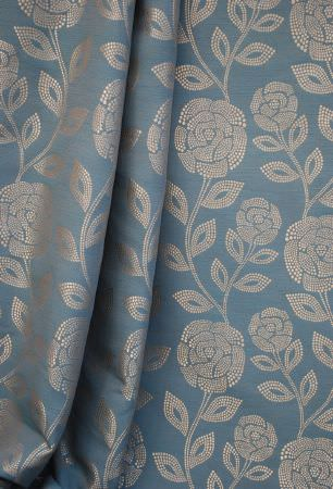 Kestrel Lister -  Florence Fabric Collection - Swathes of powder blue coloured fabric embroidered with silver dottedflowers and leaves