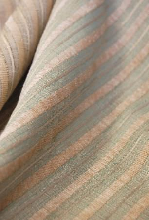Kestrel Lister -  Hampshire Stripe Fabric Collection - Pastel blue and ivory shades making up a regular, elegant stripe pattern on a swathe of fabric