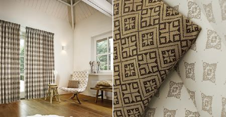 Kobe -  Ambiance Fabric Collection - Dark brown, beige and off-white patterned fabrics on a cushion and padded chair, with checked curtains, and stools