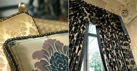 Kobe -  Augusta Fabric Collection - Ornately patterned black and gold curtains and a pelmet, with black, brown, beige and golden honey patterned cushions