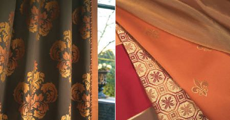 Kobe -  Augusta Fabric Collection - Curtains and folds of fabric made in plains and with small and ornate patterns in rich brown, orange, red and cream