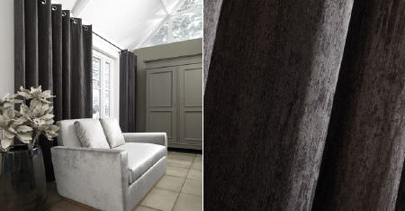 Kobe -  Camden Fabric Collection - Plain dark charcoal grey coloured curtains, a plain, simple, light silver coloured sofa, and a large, shiny black vase