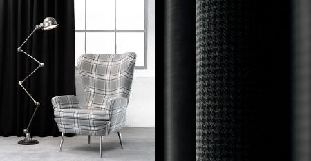 Kobe -  Courchevel CS Fabric Collection - Plain jet black and tiny houndstooth patterned curtains, with a light grey and white checked armchair, and a silver lamp