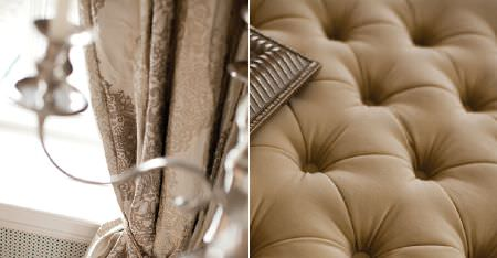 Kobe -  Dauphine Fabric Collection - Cream, champagne and light brown curtains with an intricate pattern, with a candelabra and a padded biscuit coloured seat