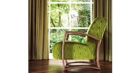 Kobe -  Expression Fabric Collection - Plain green curtains, with an armchair covered with zigzag fabric in 2 bright shades of green, made with a bronze frame