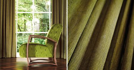 Kobe -  Expression Fabric Collection - Narrowly striped and zigzag patterned fabrics in bright and light green, on curtains and an armchair with a wooden frame