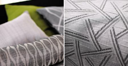 Kobe -  Expression Fabric Collection - Various abstract and geometric patterns in light shades of grey on scatter cushions, with white and lime green cushions