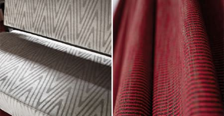 Kobe -  Expression Fabric Collection - A sofa covered with narrow silver and grey zigzag print fabric, beside fabric made with narrow red and charcoal stripes